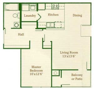 One Bedroom One Bath: 643 Sq. Ft.