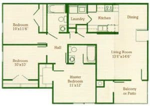 Three Bedroom Two Bath: 1025 Sq. Ft.