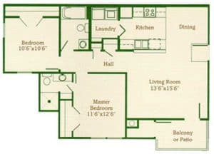Two Bedroom Two Bath: 880 Sq. Ft.